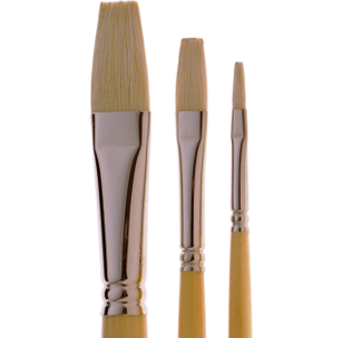 2050 Finest Quality Flat White Bristle Artist Brush