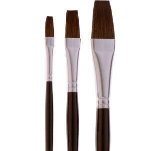 4908 Flat, Short Handle Sabeline Watercolor Brush